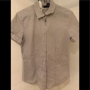 New Button down collard striped shirt -stretches